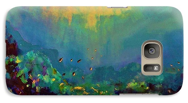 Galaxy Case featuring the painting When The Sun Is Looking Into The Sea by AmaS Art