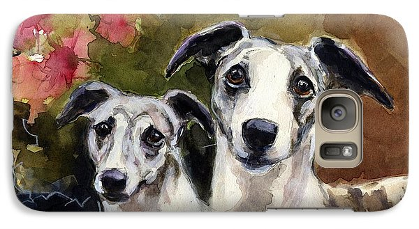 Galaxy Case featuring the painting Whippets by Molly Poole