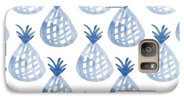 Garden Galaxy S7 Case - White And Blue Pineapple Party by Linda Woods