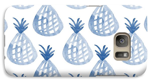White And Blue Pineapple Party Galaxy Case by Linda Woods