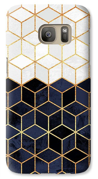 White And Navy Cubes Galaxy S7 Case by Elisabeth Fredriksson