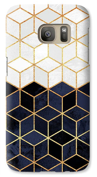 White And Navy Cubes Galaxy Case by Elisabeth Fredriksson