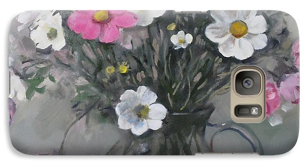 White And Pink Cosmos Bouquet In Water Pitcher No. 2 Galaxy S7 Case