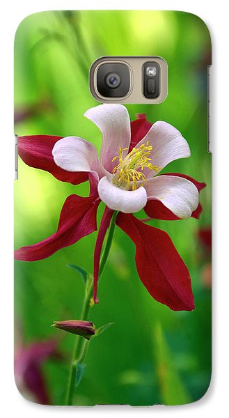 Galaxy Case featuring the photograph White And Red Columbine  by James Steele