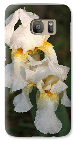 Galaxy Case featuring the photograph Two White Bearded Iris At Dusk by Sheila Brown