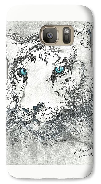 Galaxy Case featuring the drawing White Bengal Tiger by Denise Fulmer