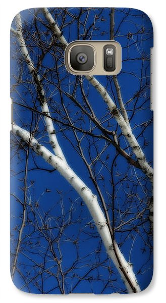 Galaxy Case featuring the photograph White Birch Blue Sky by Smilin Eyes  Treasures