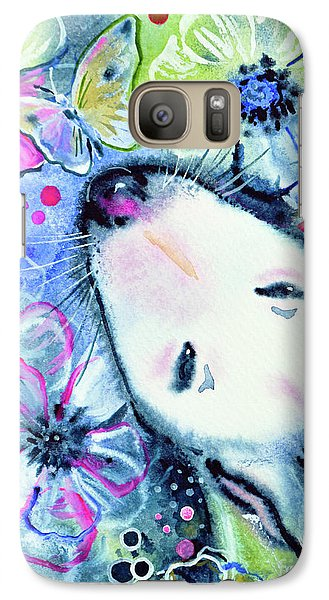 Galaxy Case featuring the painting White Bull Terrier And Butterfly by Zaira Dzhaubaeva