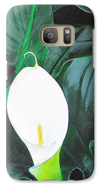 Galaxy Case featuring the painting White Cala Lily by Gary Smith