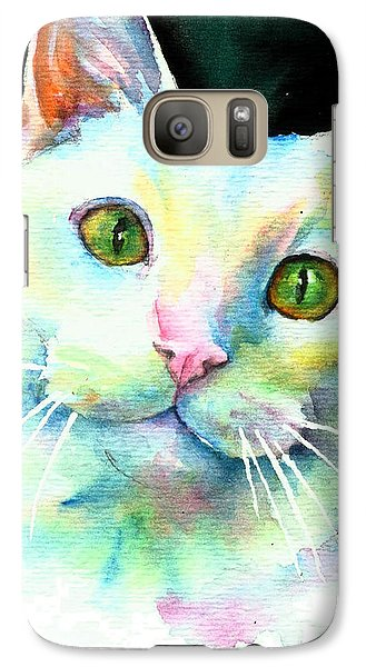 Galaxy Case featuring the painting White Cat by Christy Freeman