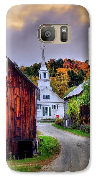 Galaxy Case featuring the photograph White Church In Autumn - Waits River Vermont by Joann Vitali