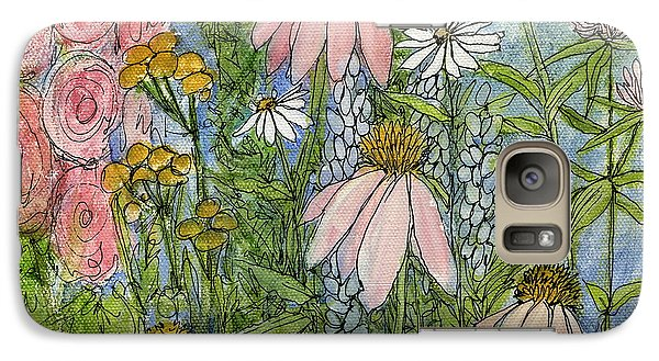 Galaxy Case featuring the painting White Coneflowers In Garden by Laurie Rohner