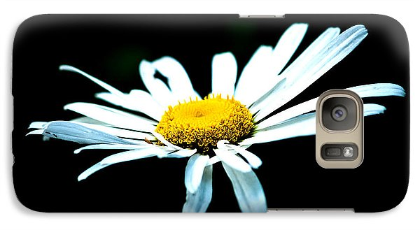 Galaxy Case featuring the photograph White Daisy Flower Black Background by Alexander Senin