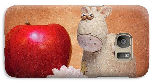 Daisy Galaxy S7 Case - White Horse With Apple by Tom Mc Nemar