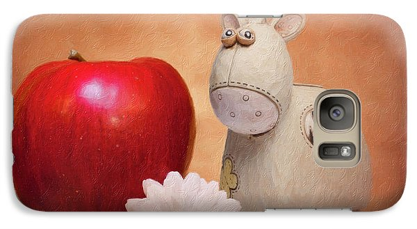 Galaxy Case featuring the photograph White Horse With Apple by Tom Mc Nemar