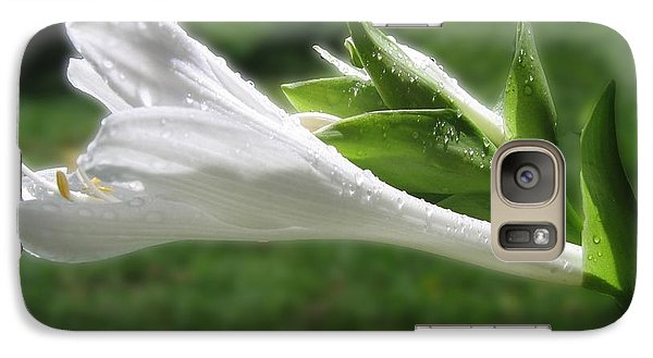 Galaxy Case featuring the photograph White Hosta Flower 46 by Maciek Froncisz