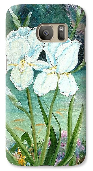 Galaxy Case featuring the painting White Iris Love by Renate Nadi Wesley