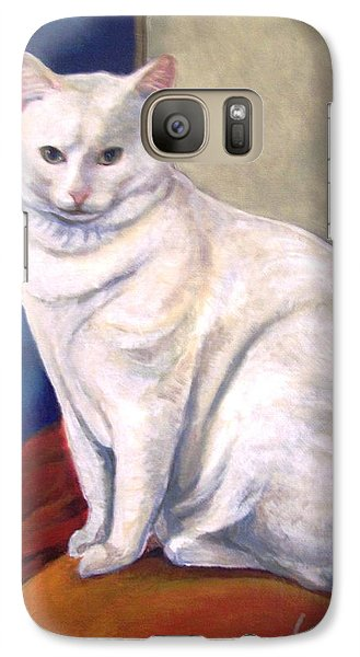Galaxy Case featuring the painting White Kitty by Laura Aceto