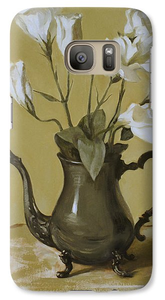 White Lisianthus In Silver Coffeepot Galaxy S7 Case