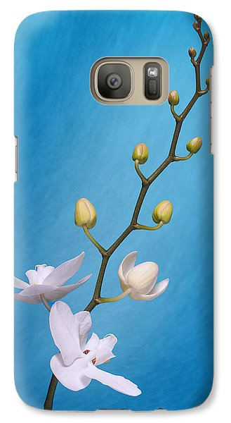 Orchid Galaxy S7 Case - White Orchid Buds On Blue by Tom Mc Nemar