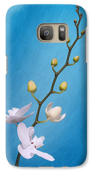 White Orchid Buds On Blue Galaxy Case by Tom Mc Nemar