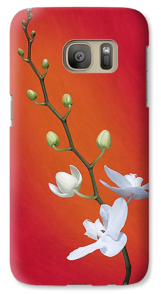 White Orchid Buds On Red Galaxy S7 Case by Tom Mc Nemar