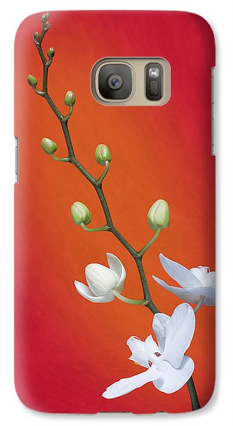 Orchid Galaxy S7 Case - White Orchid Buds On Red by Tom Mc Nemar