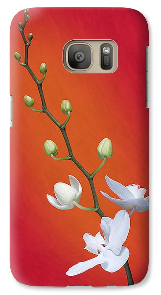 White Orchid Buds On Red Galaxy Case by Tom Mc Nemar