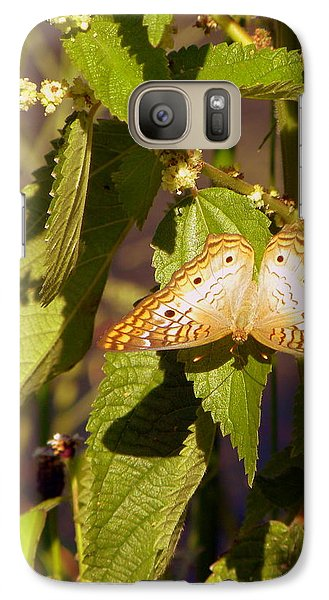 Galaxy Case featuring the photograph White Peacock Butterfly by Terri Mills