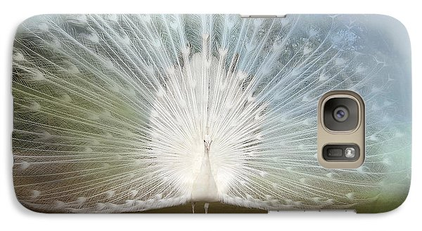 Galaxy Case featuring the photograph White Peacock In All His Glory by Bonnie Barry