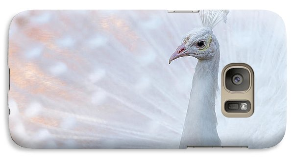 Galaxy Case featuring the photograph White Peacock by Sebastian Musial