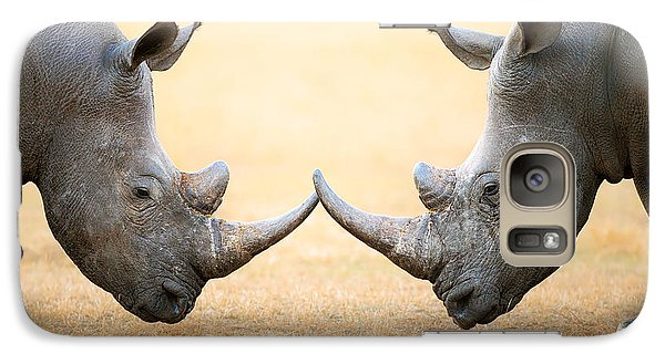 White Rhinoceros  Head To Head Galaxy Case by Johan Swanepoel