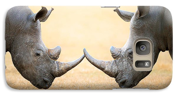 White Rhinoceros  Head To Head Galaxy S7 Case