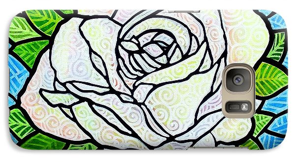 Galaxy Case featuring the painting White Rose  by Jim Harris