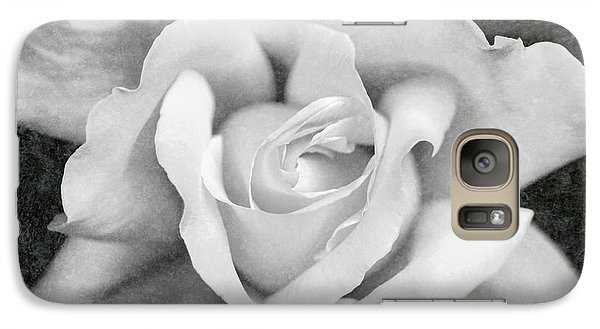 Galaxy Case featuring the photograph White Rose Macro Black And White by Jennie Marie Schell