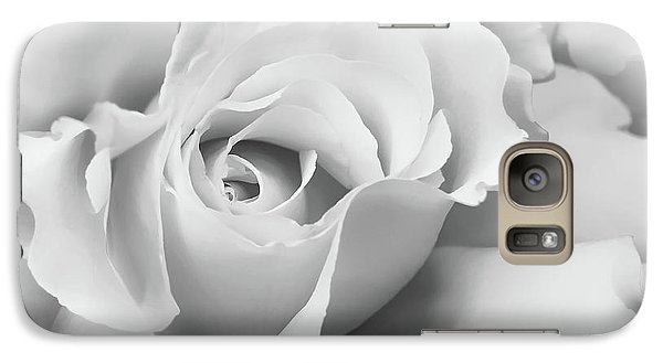 Galaxy Case featuring the photograph White Rose Ruffles Monochrome by Jennie Marie Schell