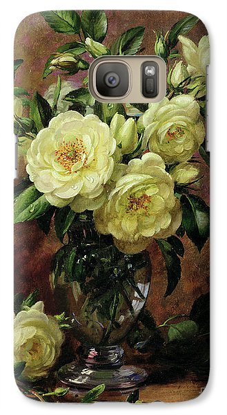 Rose Galaxy S7 Case - White Roses - A Gift From The Heart by Albert Williams