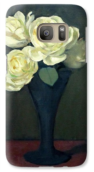 Four White Roses In Trumpet Vase Galaxy S7 Case
