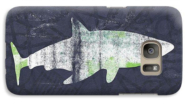 White Shark- Art By Linda Woods Galaxy S7 Case by Linda Woods