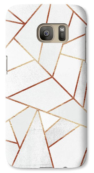 White Stone And Copper Lines Galaxy S7 Case by Elisabeth Fredriksson