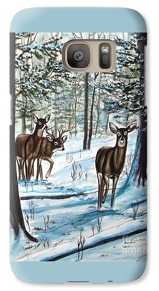 Galaxy Case featuring the painting White Tail Deer In Winter by Patricia L Davidson