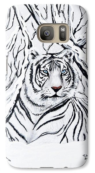 White Tiger Blending In Galaxy S7 Case by Teresa Wing