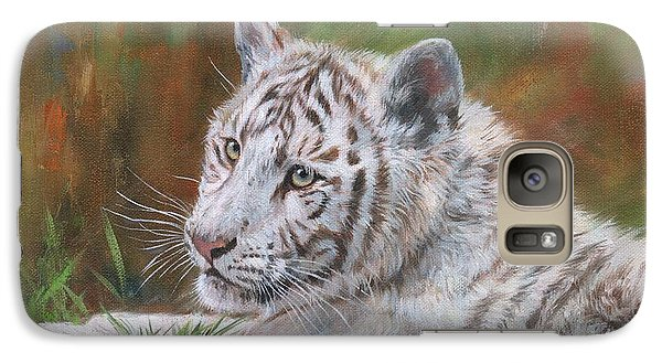 Galaxy Case featuring the painting White Tiger Cub 2 by David Stribbling