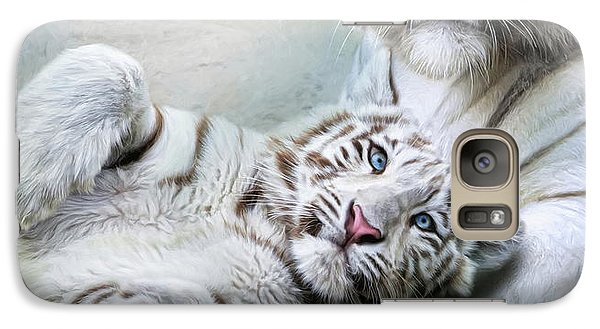 Galaxy Case featuring the digital art  White Tiger by Trudi Simmonds