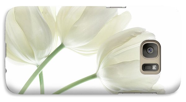Galaxy Case featuring the photograph White Tulip Flowers by Charline Xia