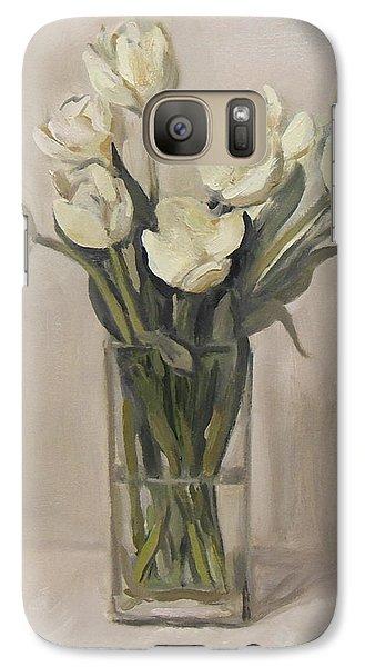 White Tulips In Rectangular Glass Vase Galaxy S7 Case