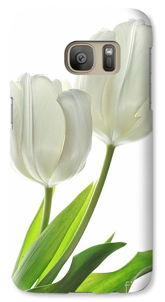 Galaxy Case featuring the photograph White Tulips With Leaf by Charline Xia