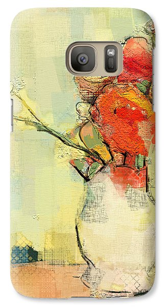 Galaxy Case featuring the painting White Vase by Carrie Joy Byrnes