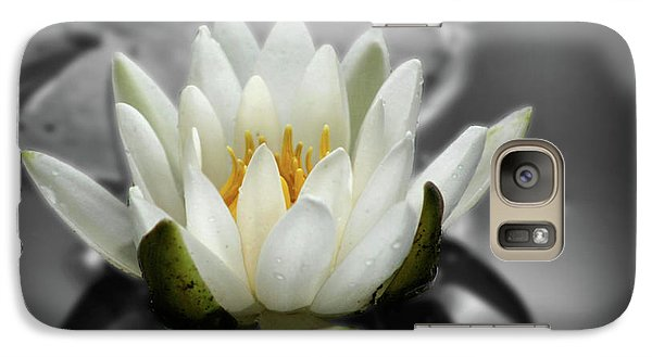 Galaxy Case featuring the photograph White Water Lily Black And White by Smilin Eyes  Treasures