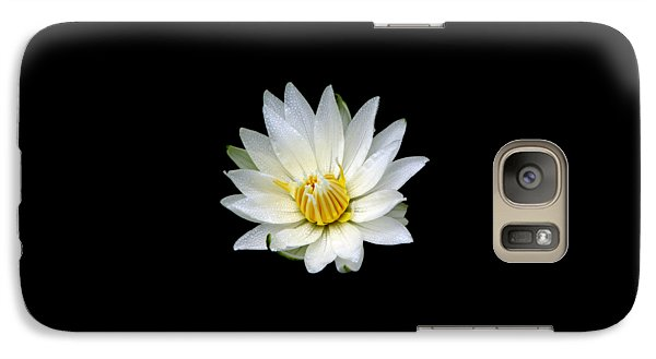 Galaxy Case featuring the photograph White Waterlily With Dewdrops by Rose Santuci-Sofranko